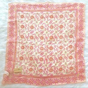 Natural Life Pink Scarf Boho Floral Handkerchief